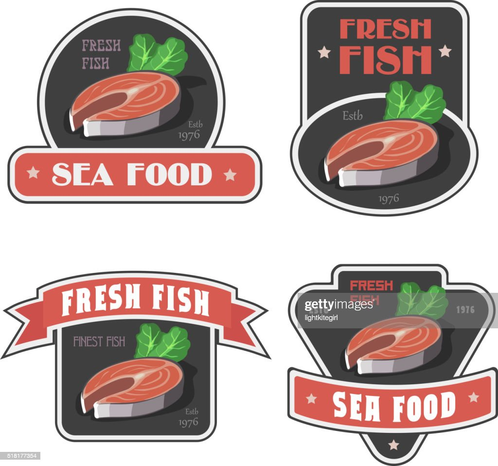 Seafood and fresh fish label or logo vector illustration