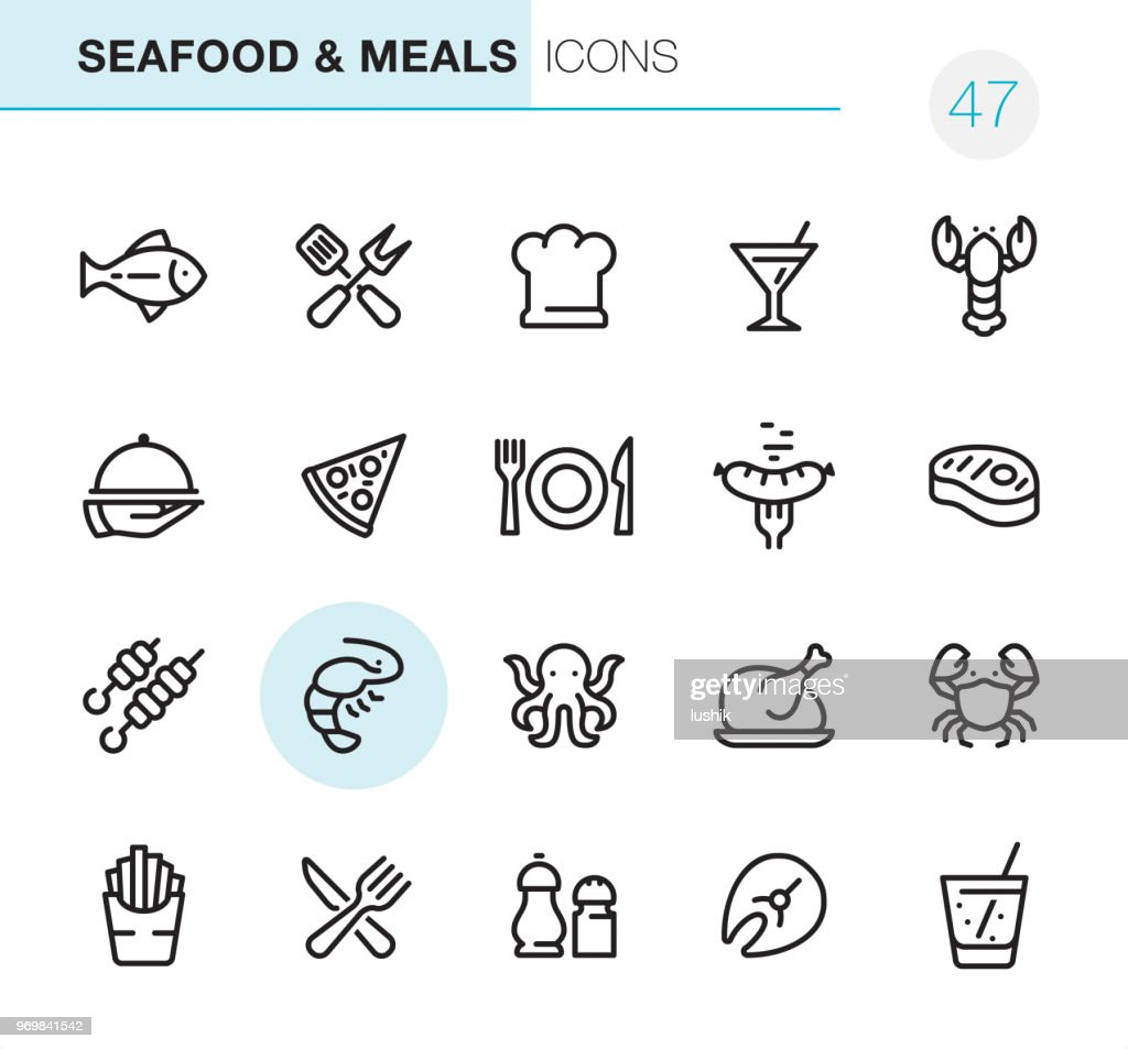 Seafood and Meals - Pixel Perfect icons : stock illustration