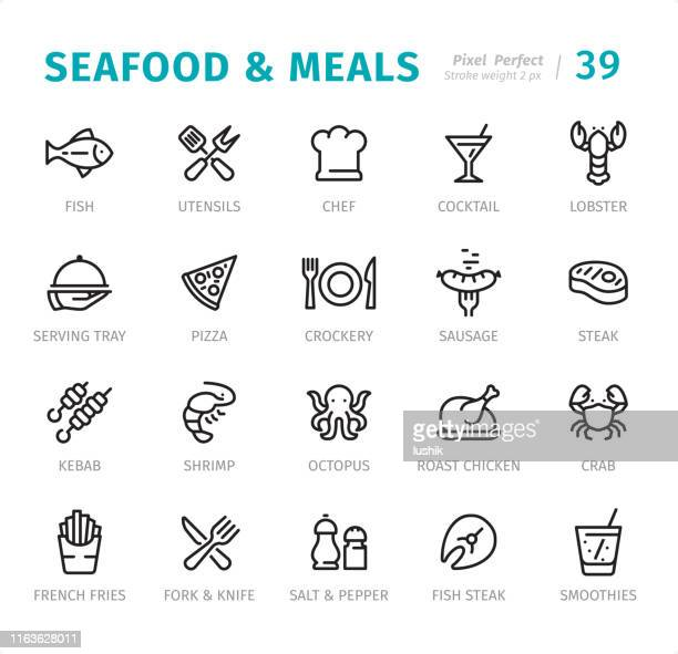 seafood and meals - pixel perfect line icons with captions - fillet stock illustrations, clip art, cartoons, & icons