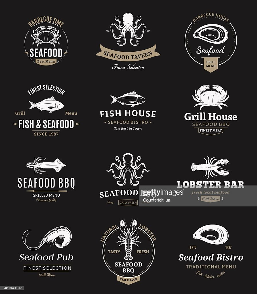 Seafood Barbecue Labels and Design Elements