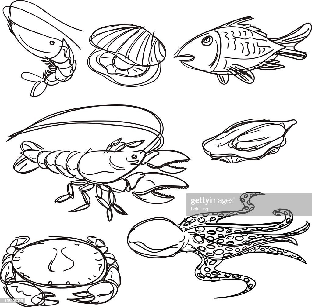 Seafood collection in Black and White : stock illustration
