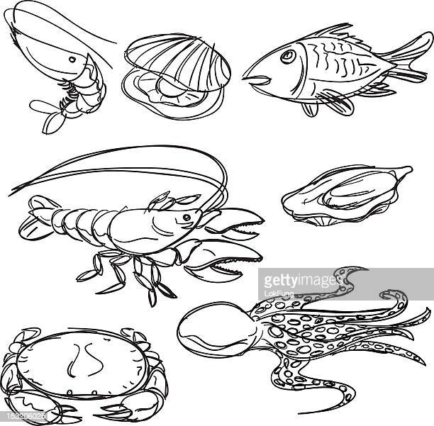 Seafood collection in Black and White