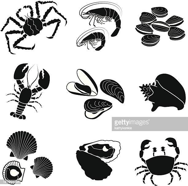 illustrations, cliparts, dessins animés et icônes de de fruits de mer et crustacés mollusks - crabe