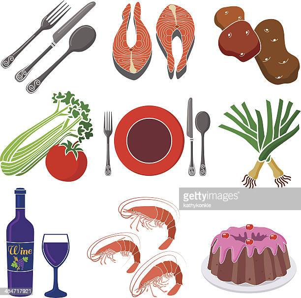 seafood dinner design elements - leek stock illustrations, clip art, cartoons, & icons