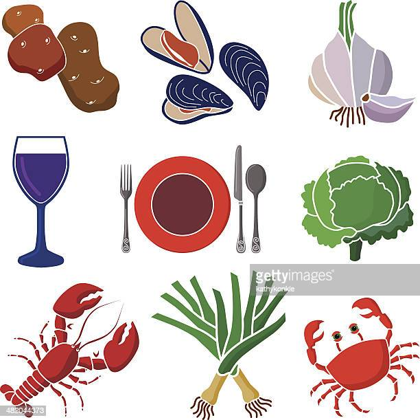 seafood dinner icon set - leek stock illustrations, clip art, cartoons, & icons