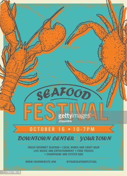 seafood festival advertisement poster design template - traditional festival stock illustrations