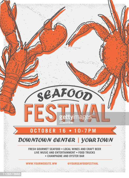seafood festival advertisement poster design template - lobster stock illustrations