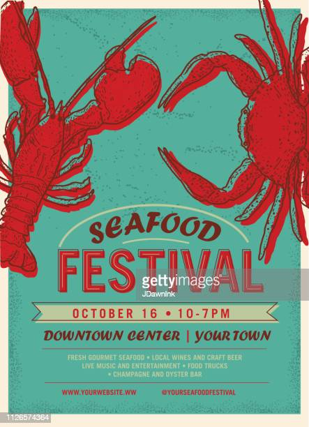 Seafood Festival advertisement poster design template