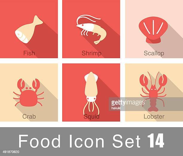 illustrations, cliparts, dessins animés et icônes de ensemble d'icônes plats de poissons et fruits de mer - crabe