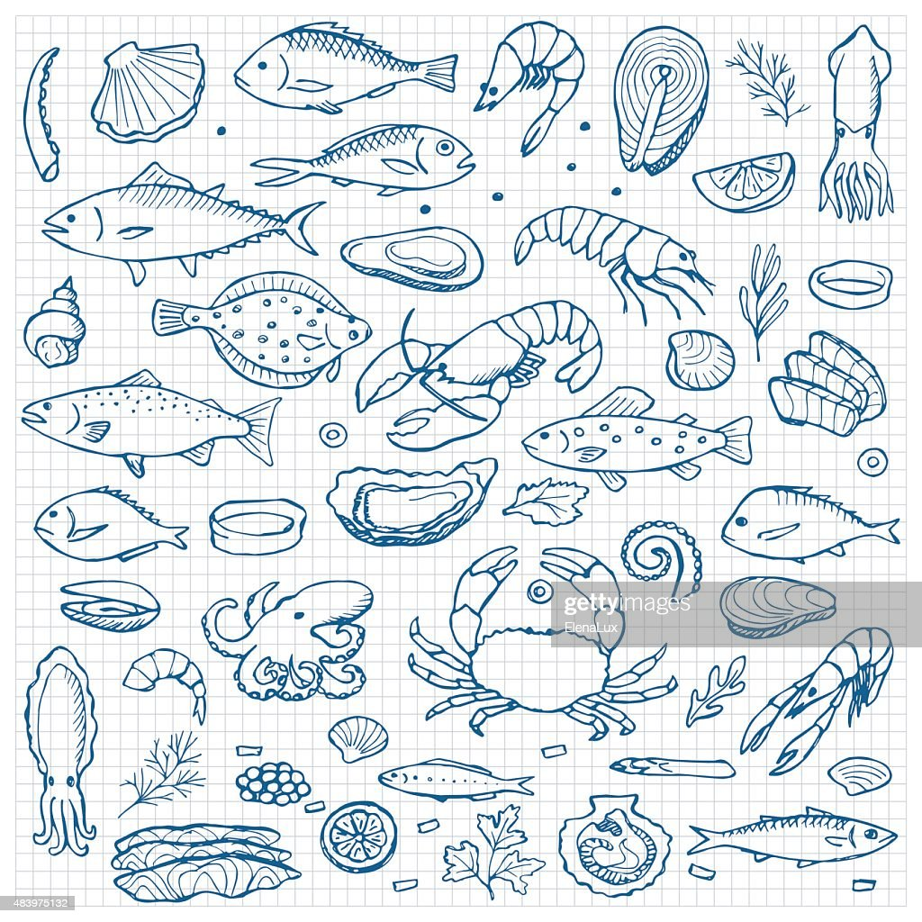 Seafood hand drawn doodle elements