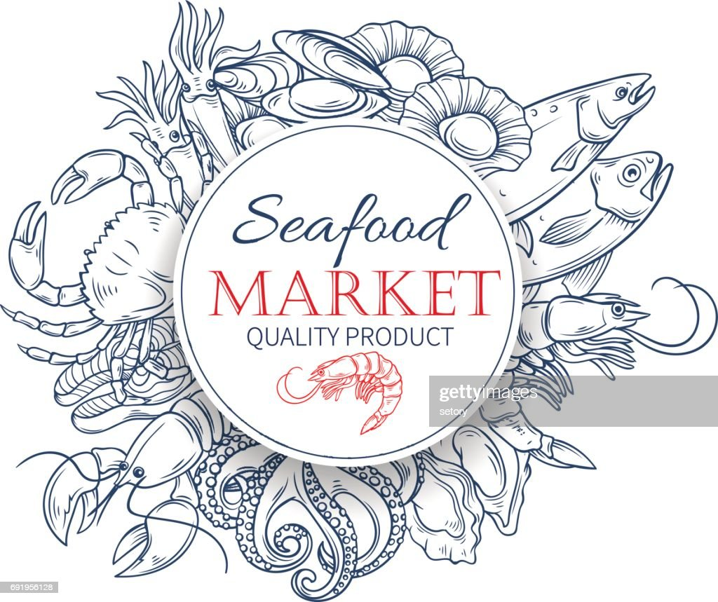 Seafood hand drawn poster template
