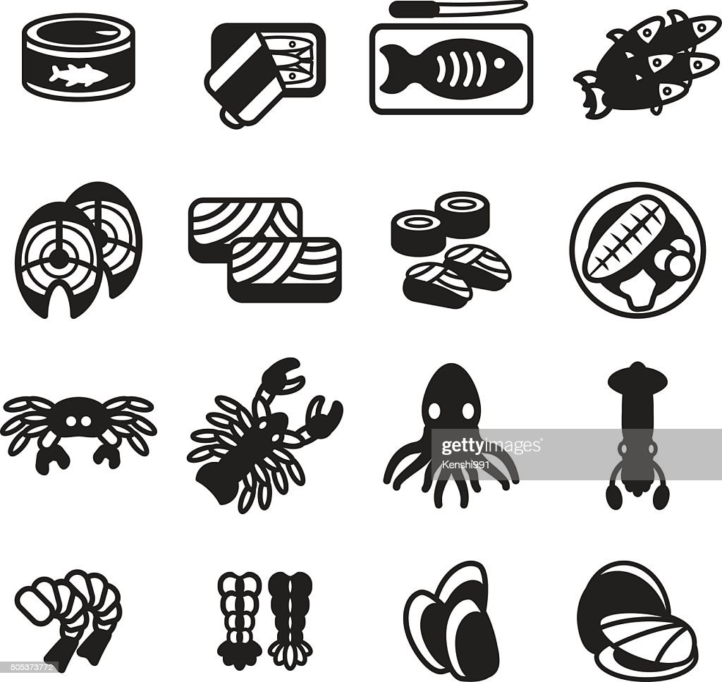 Seafood icon set. Vector eps 10.