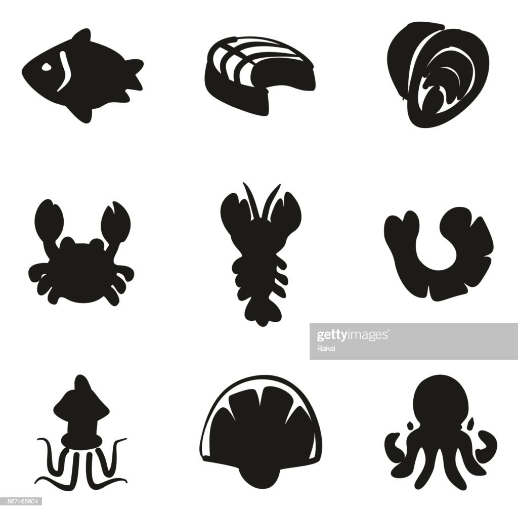 Seafood Icons Freehand Fill