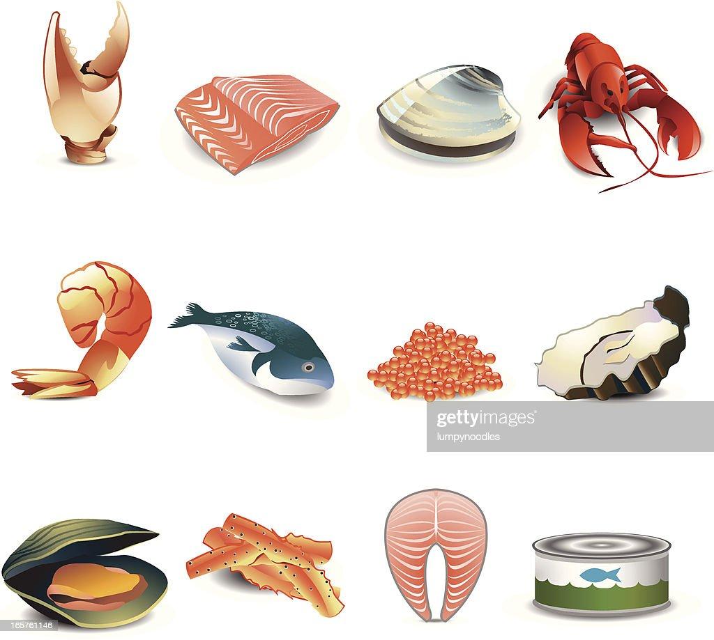 Seafood Icons : stock illustration