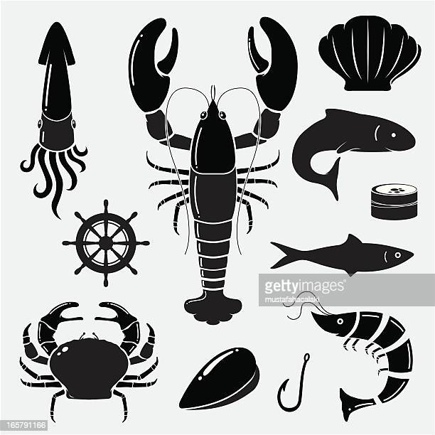 seafood icons - crab stock illustrations