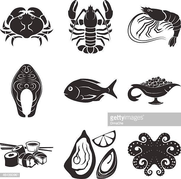 illustrations, cliparts, dessins animés et icônes de icônes de fruits de mer - homard