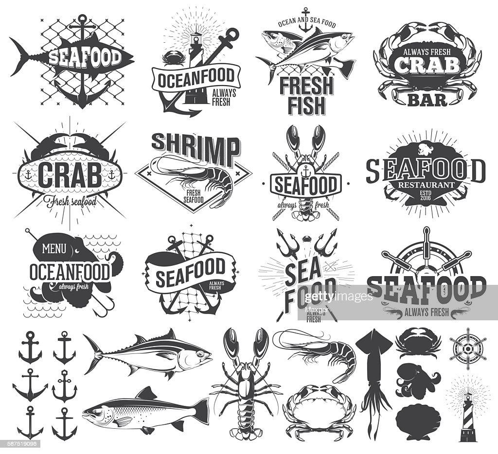 Seafood labels, logo and  illustration, design elements