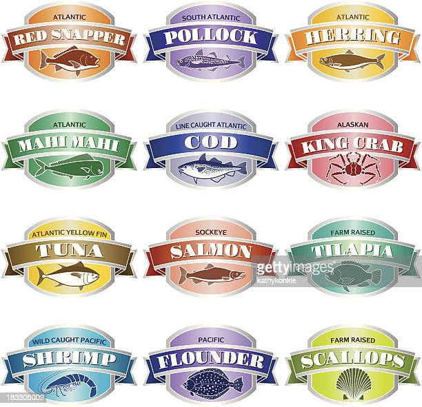 seafood labels or stickers