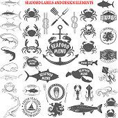 seafood menu labels set. Design elements for label, emblem