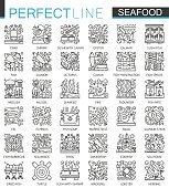 Seafood outline mini concept symbols. East restaurant sea food modern stroke linear style illustrations set. Perfect thin line icons.
