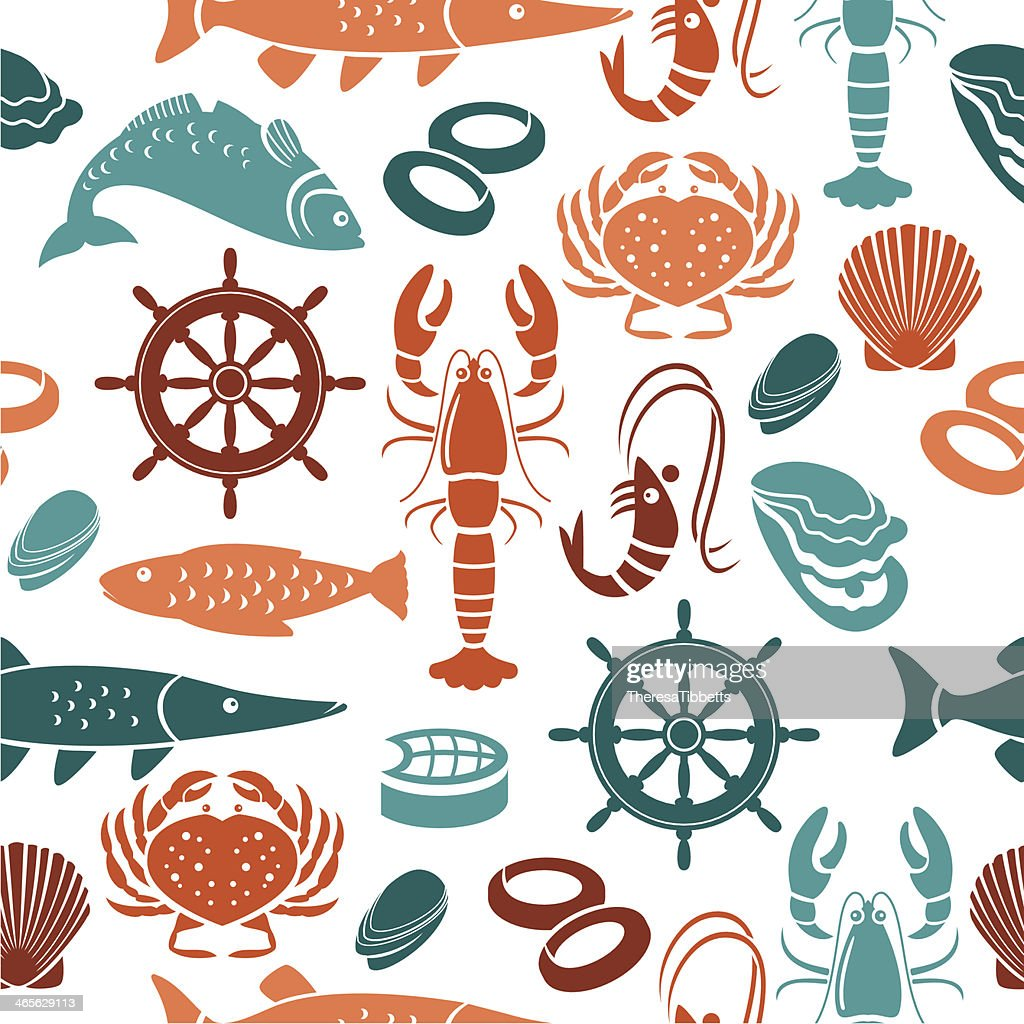 Seafood Repeat Pattern : stock illustration