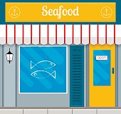 Seafood restaurant facade or front in flat style. EPS10 vector illustration.