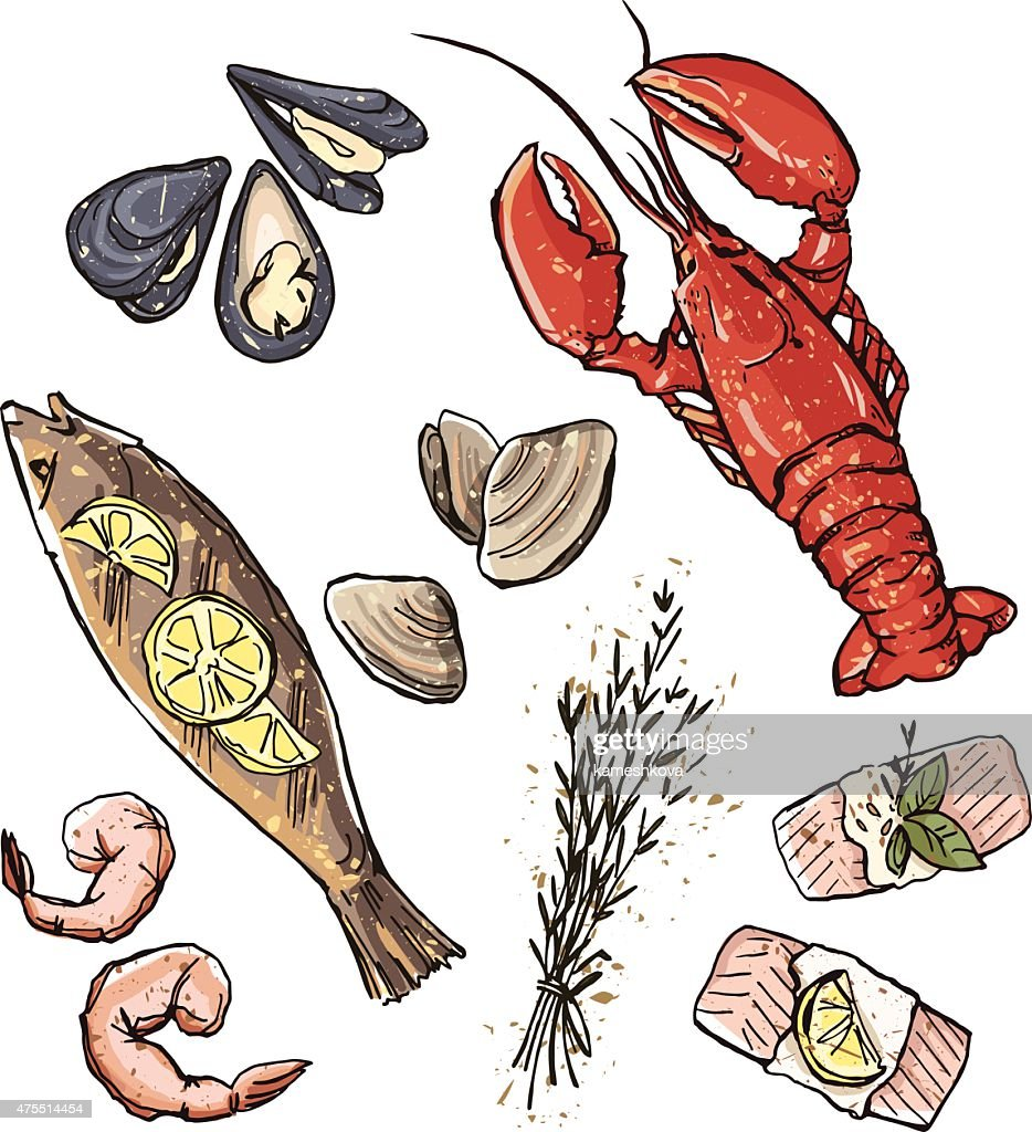 Seafood selection. Vector illustration