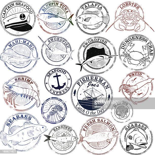 seafood stamp series - bass fishing stock illustrations