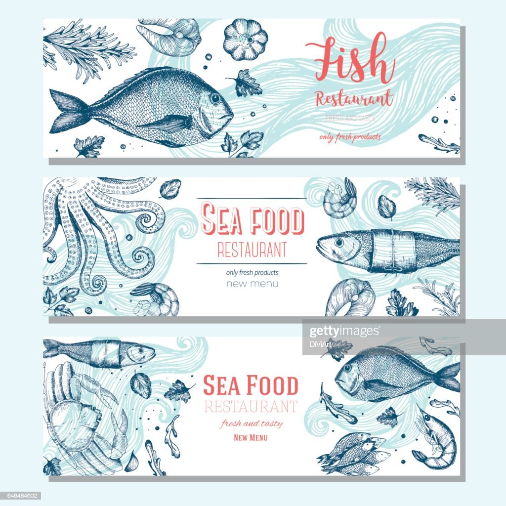Seafood vintage design template. Horizontal banners set.