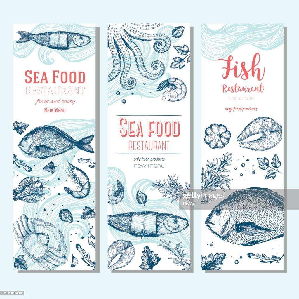 Seafood vintage design template. Vertical banners set.