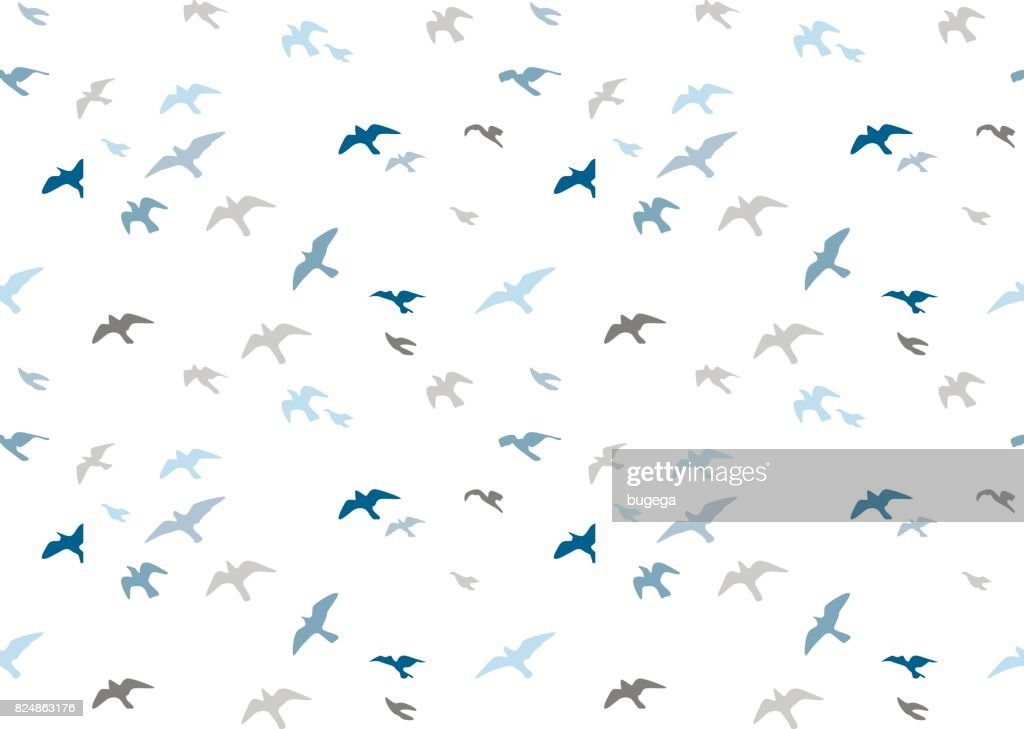 Seagulls silhouettes seamless pattern. Flock of flying birds blue gray semitone silhouette. Sea-gull cute painted bird Vector for wrapping paper cute design fabric textile, isolated white background.