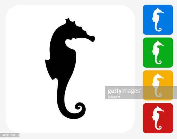 ilustrações de stock, clip art, desenhos animados e ícones de cavalo-marinho-ícone flat design gráfico - cavalo marinho