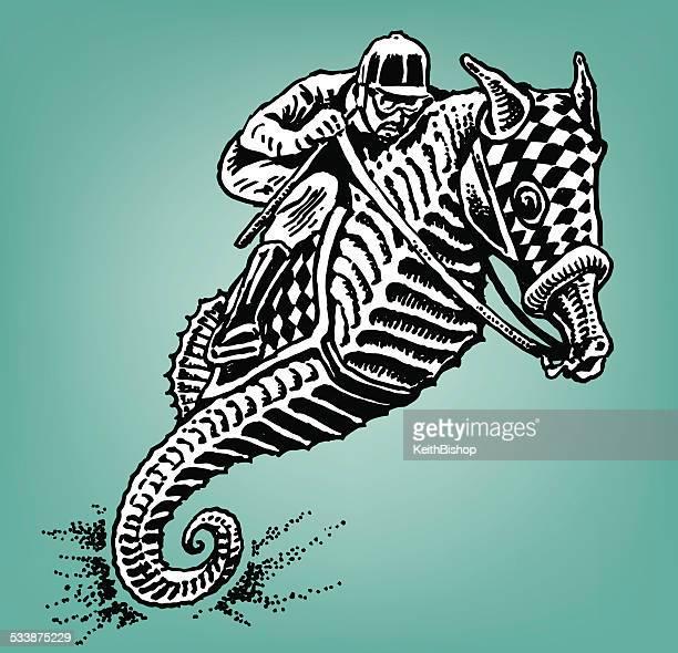 ilustrações de stock, clip art, desenhos animados e ícones de mulher jockey cavalo-marinho - cavalo marinho