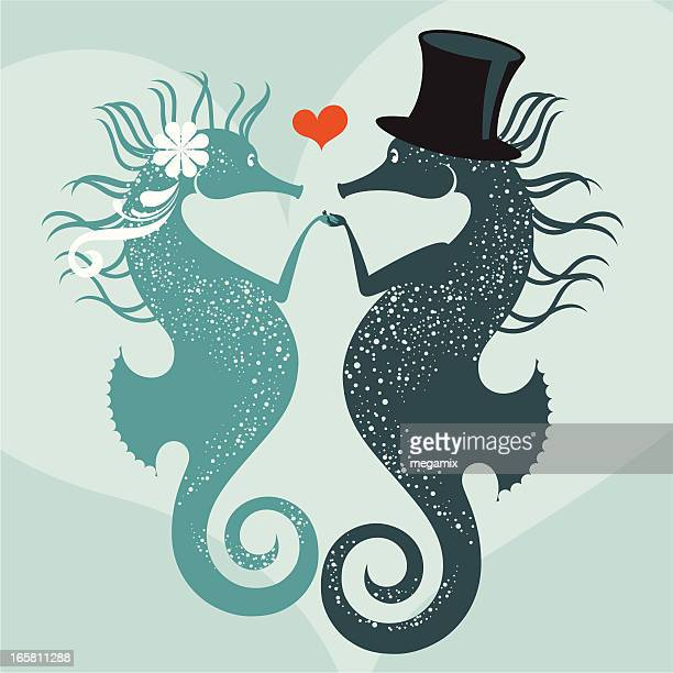 seahorses getting married. - fish love stock illustrations