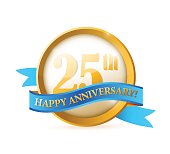 seal 25 years anniversary golden seal with ribbon.