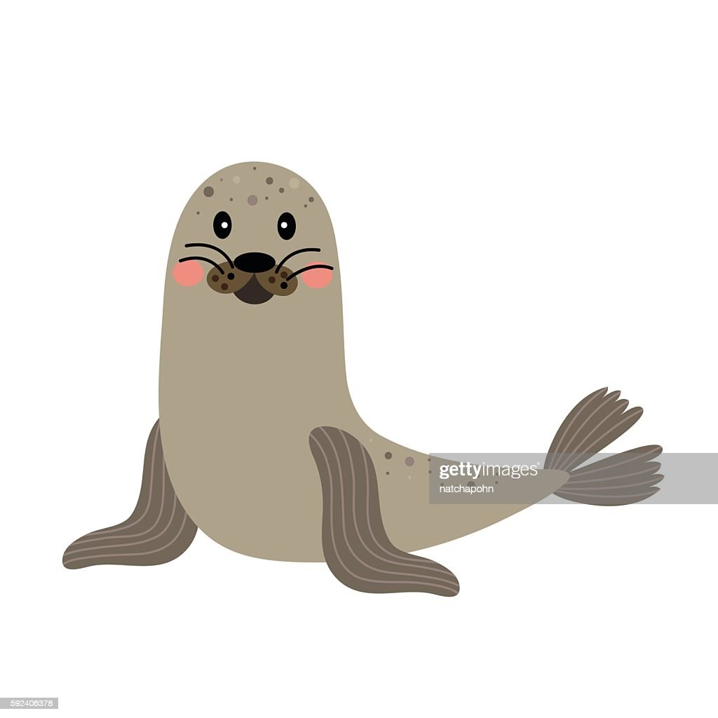 Seal animal cartoon character vector illustration.