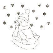 Seal baby on an ice floe coloring page