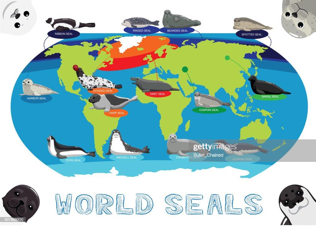 Seal Distribution World Map Cartoon Vector