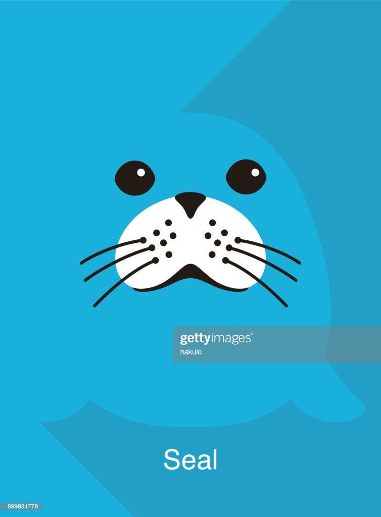 seal face flat icon design, vector illustration