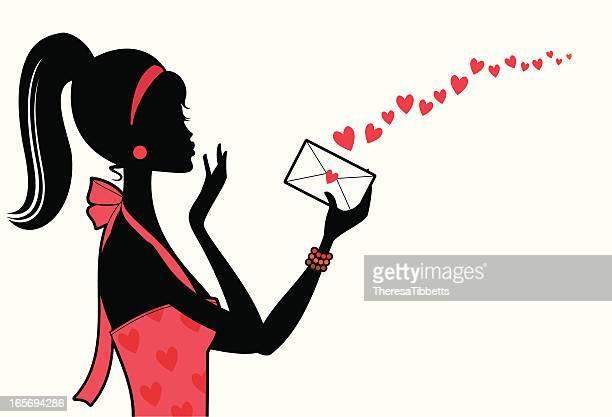 ilustraciones, imágenes clip art, dibujos animados e iconos de stock de sellado con un beso - carta de amor