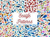 Sealife animals and fishes seamless patterns