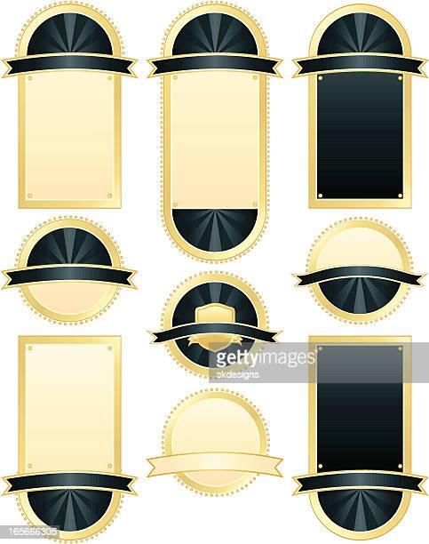 seals and plaques set - rich blue, metallic gold - memorial plaque stock illustrations, clip art, cartoons, & icons