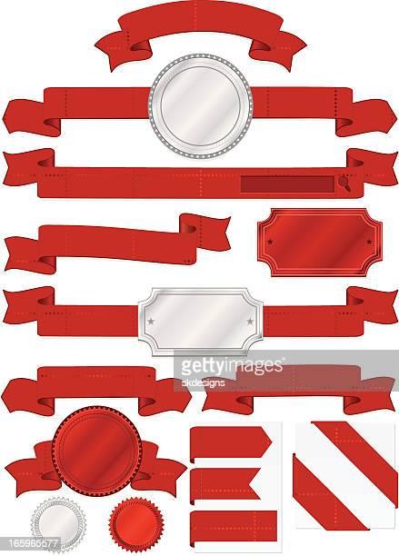 seals, plaques, with diamond patterned banners, ribbons in red, silver - memorial plaque stock illustrations, clip art, cartoons, & icons