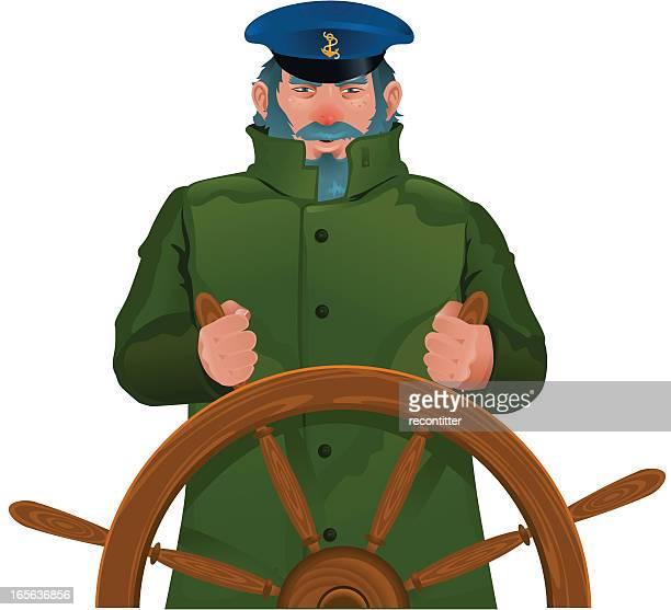Seaman in green coat holding rudder