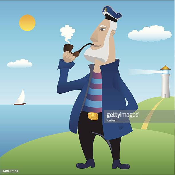 seaman - boat captain stock illustrations, clip art, cartoons, & icons