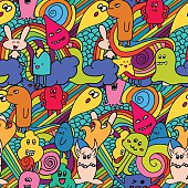 Seamle pattern Funny monsters graffiti