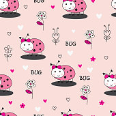 Seamles pattern with bugs and flowers