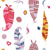 Seamles pattern with colorful doodle feathers