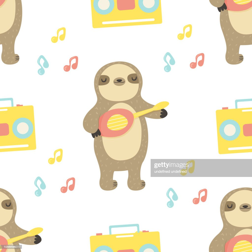 Seamles pattern with cute sloth playing ukulele. Trendy style
