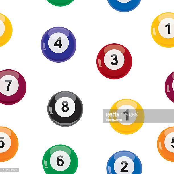 seamlesbilliardballspattern - pool ball stock illustrations, clip art, cartoons, & icons